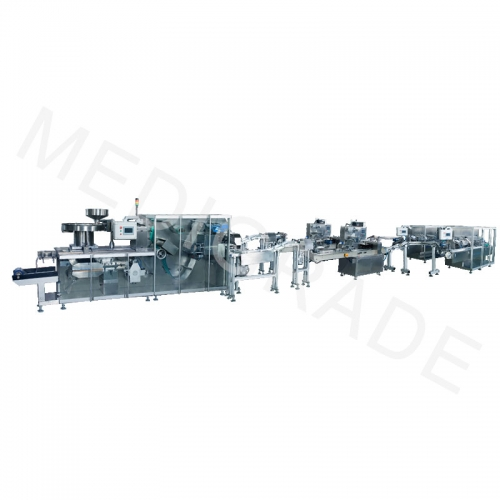 Fully automatic high speed aluminum plastic, 2 pillow bags, high speed cartoning, 3D packaging production line