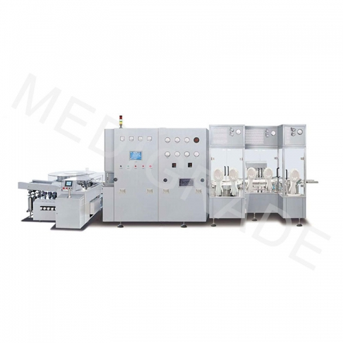 Low output aseptic liquid filling line for vials