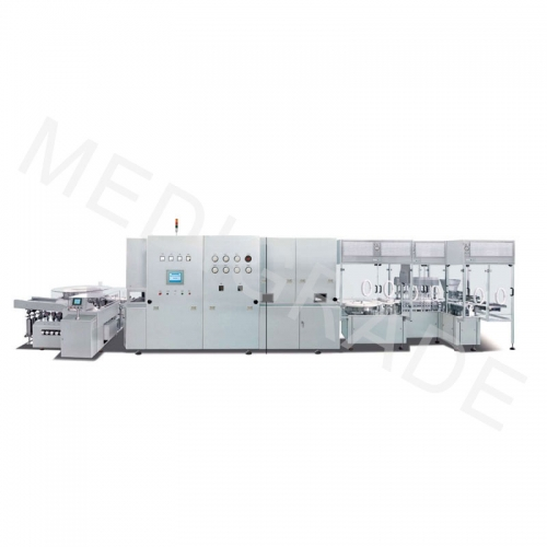 High output aseptic liquid filling line for vials